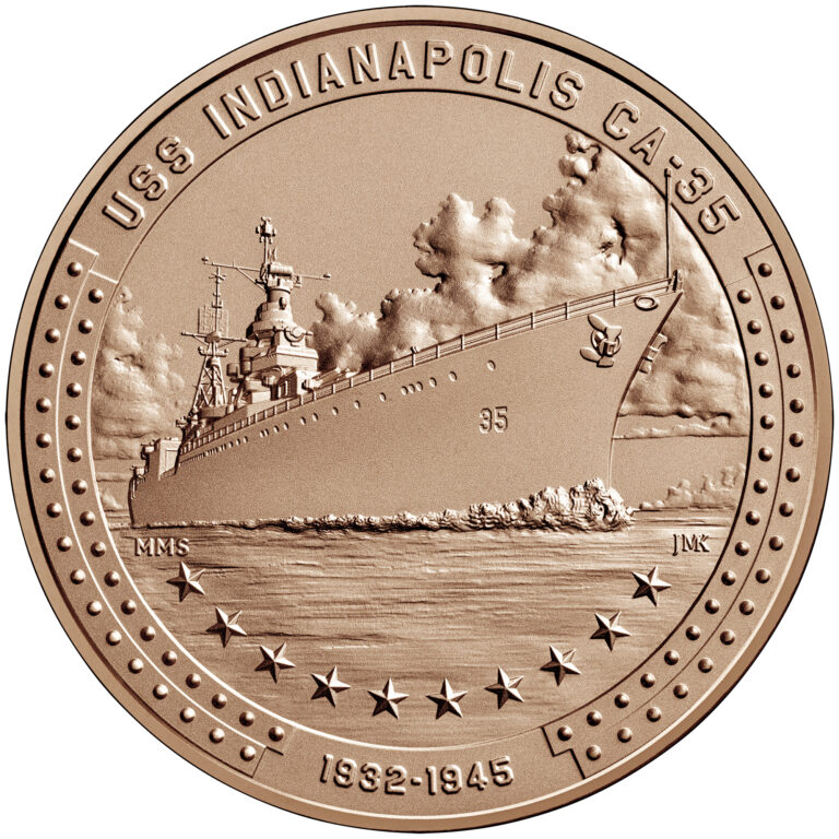 USS Indianapolis Bronze Medal One and One Half Inch Obverse