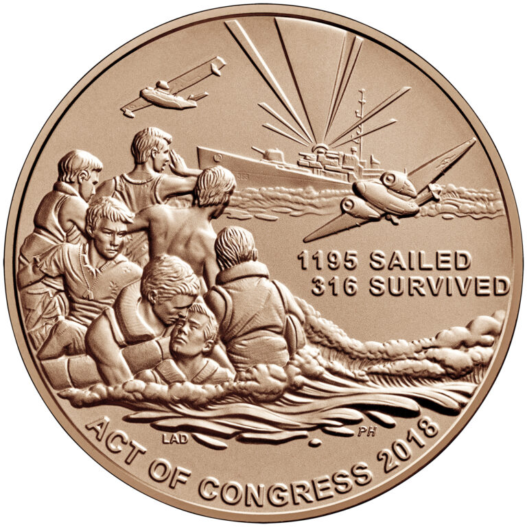 USS Indianapolis Bronze Medal One and One Half Inch Reverse