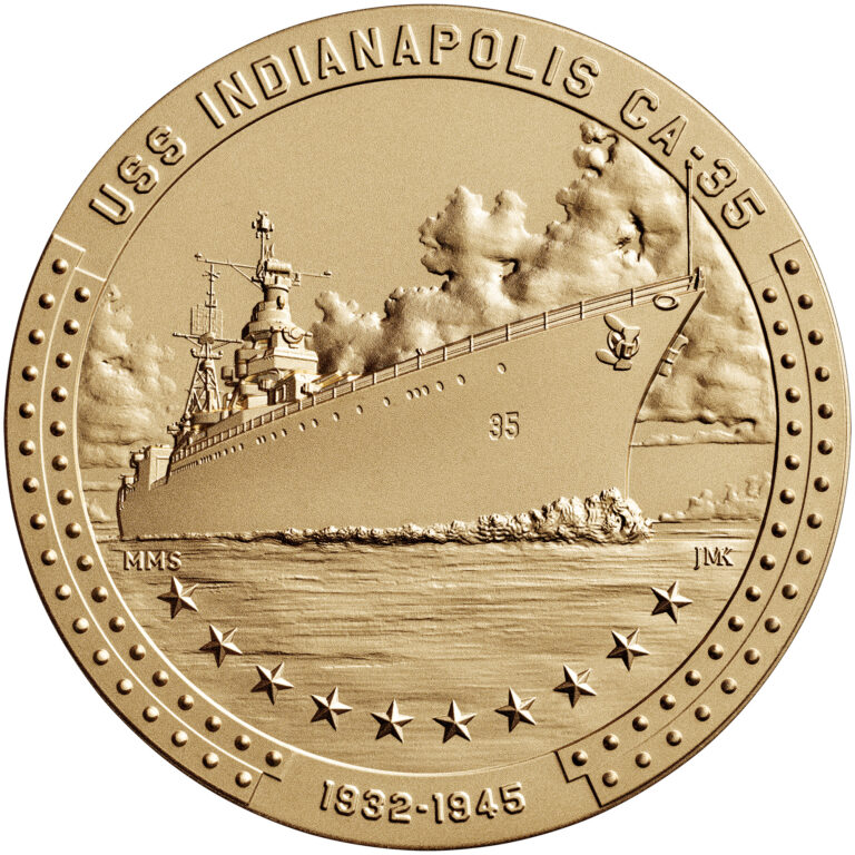 USS Indianapolis Bronze Medal Three Inch Obverse