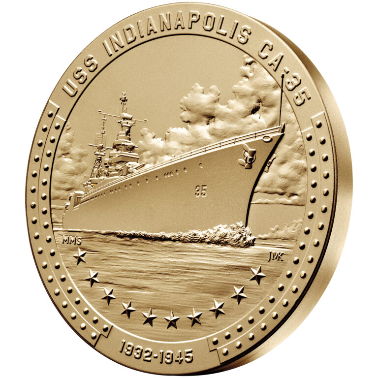 USS Indianapolis Bronze Medal Three Inch Obverse Angle