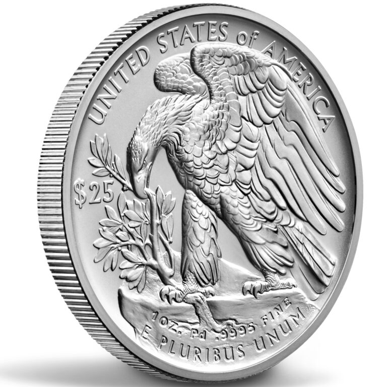 2020 American Eagle Palladium One Ounce Uncirculated Coin Reverse Angle