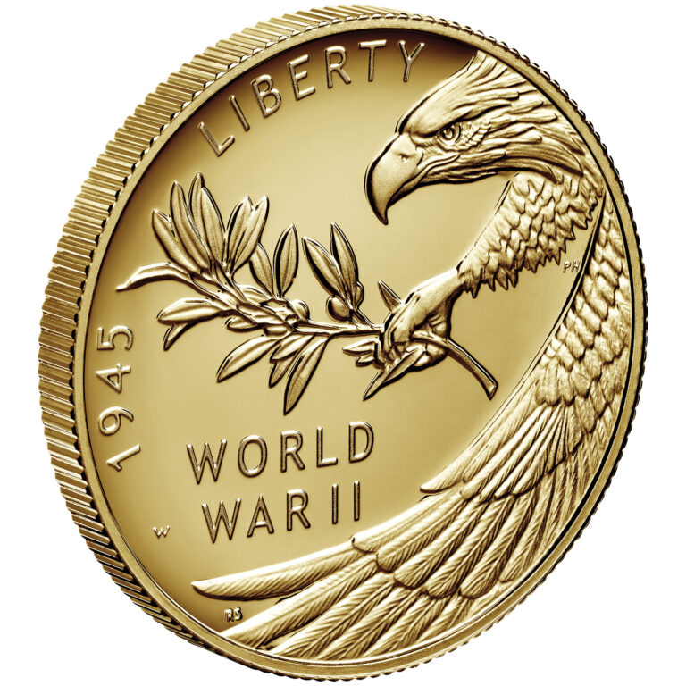 2020 End of World War II 75th Anniversary 24-Karat Gold Coin Obverse Angle