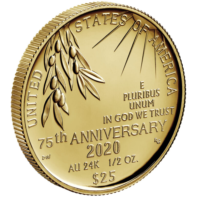 2020 End of World War II 75th Anniversary 24-Karat Gold Coin Reverse Angle