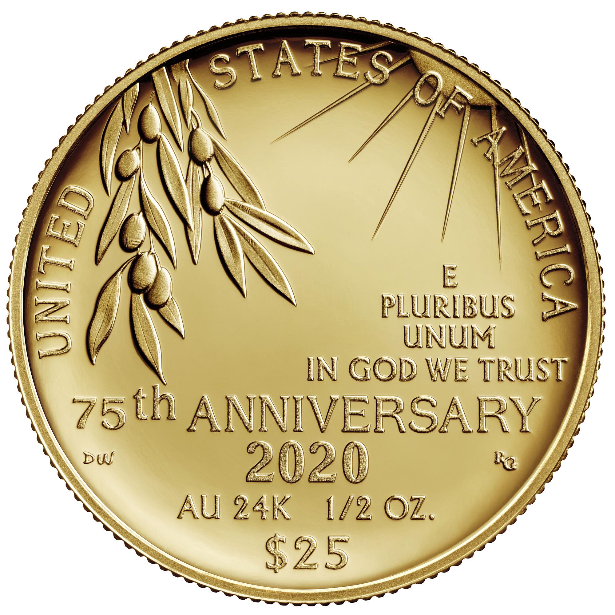 2020 End of World War II 75th Anniversary 24-Karat Gold Coin Reverse
