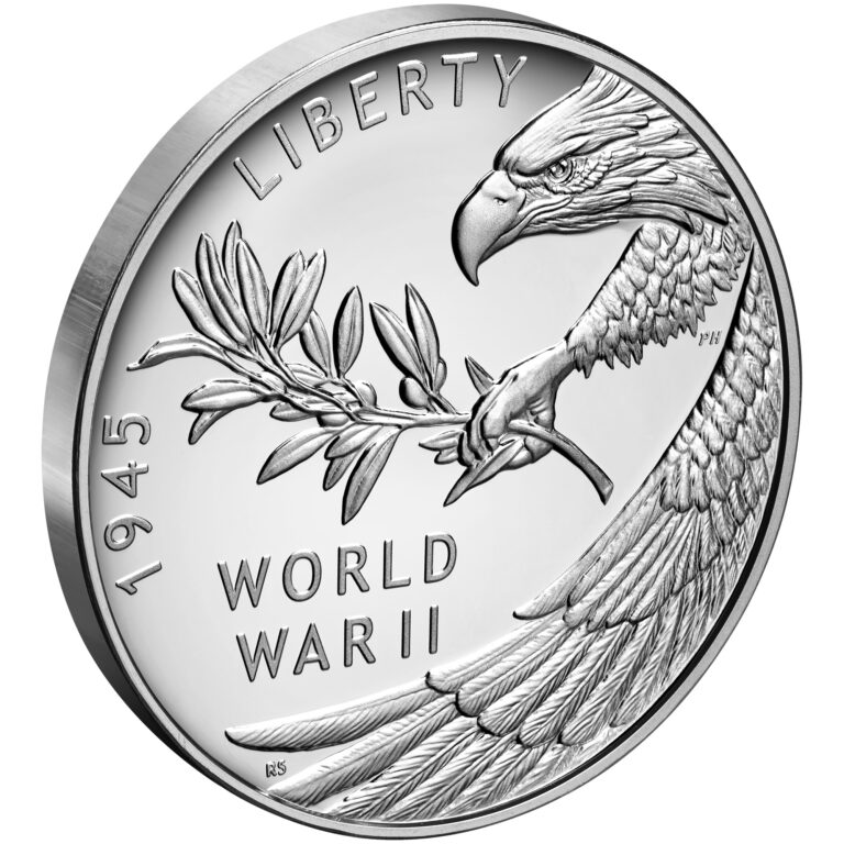 2020 End of World War II 75th Anniversary Silver Medal Obverse Angle