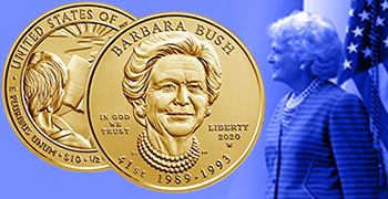 barbara bush first spouse gold coin feature