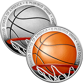 basketball hall of fame colorized silver and clad coins