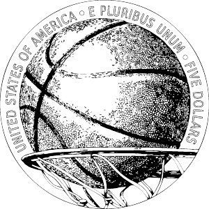 basketball commemorative coin reverse coloring page icon