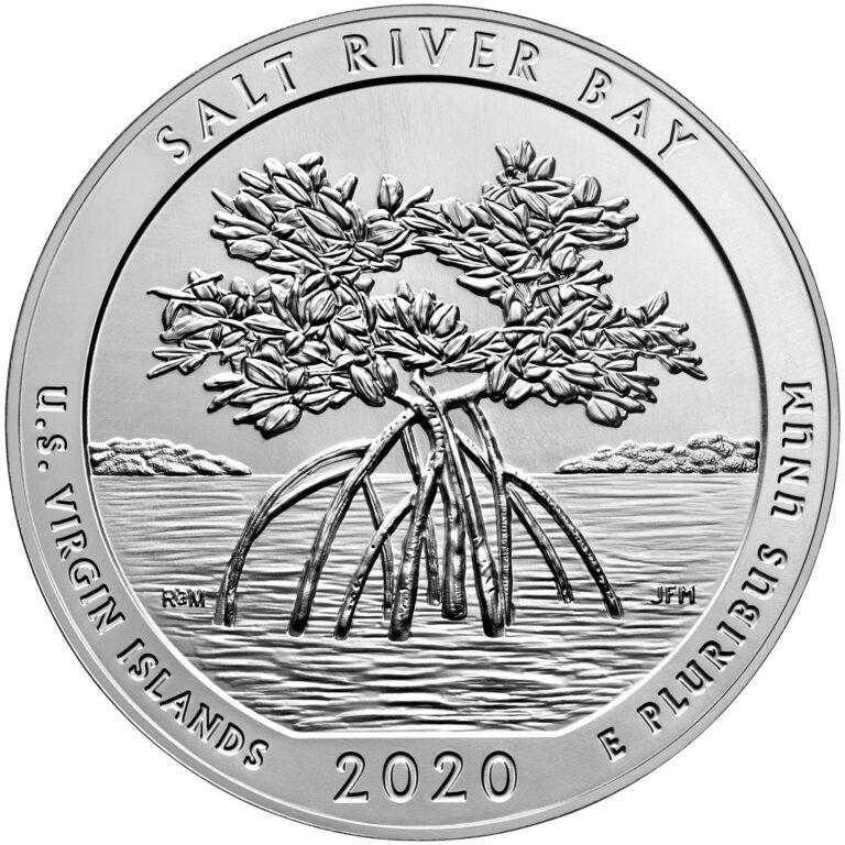 2020 America the Beautiful Quarters Five Ounce Silver Bullion Coin Salt River Bay U.S. Virgin Islands Reverse