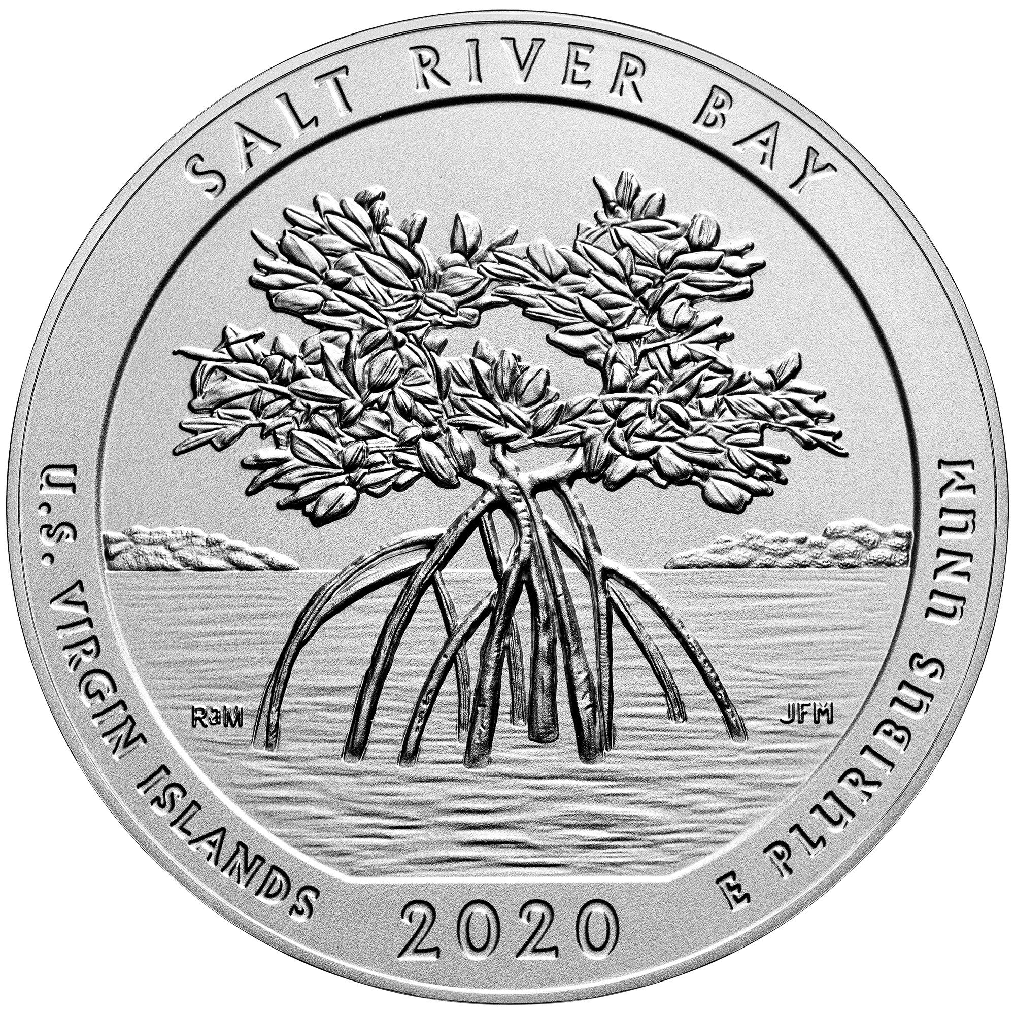2020 America the Beautiful Quarters Five Ounce Silver Uncirculated Coin Salt River Bay U.S. Virgin Islands Reverse