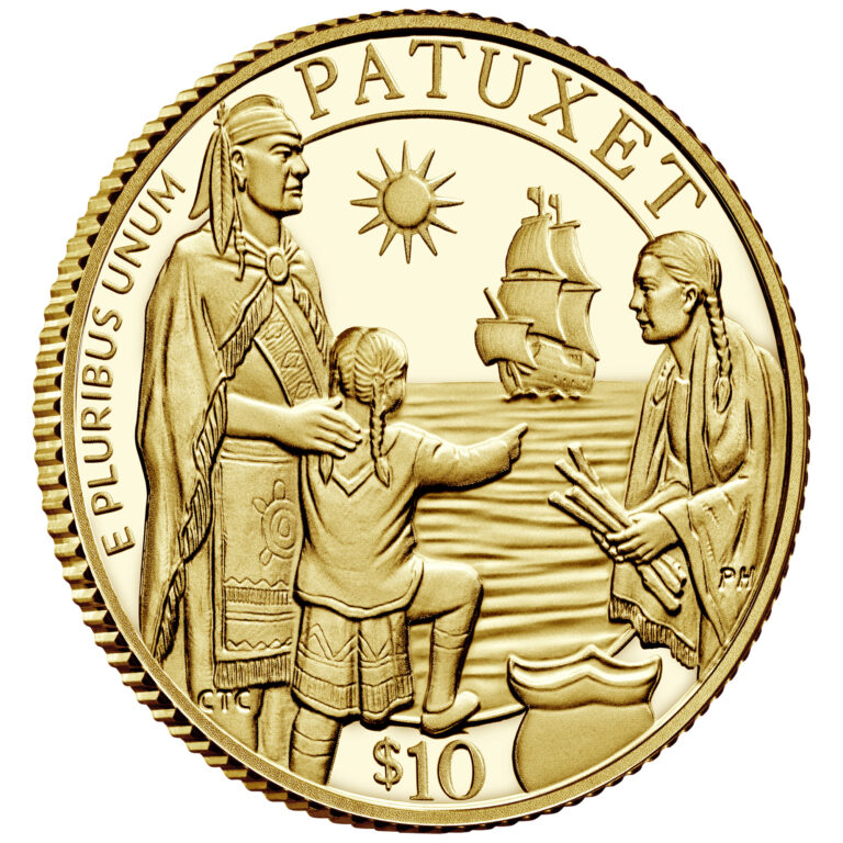 2020 Mayflower 400th Anniversary Gold Proof Coin Obverse Angle