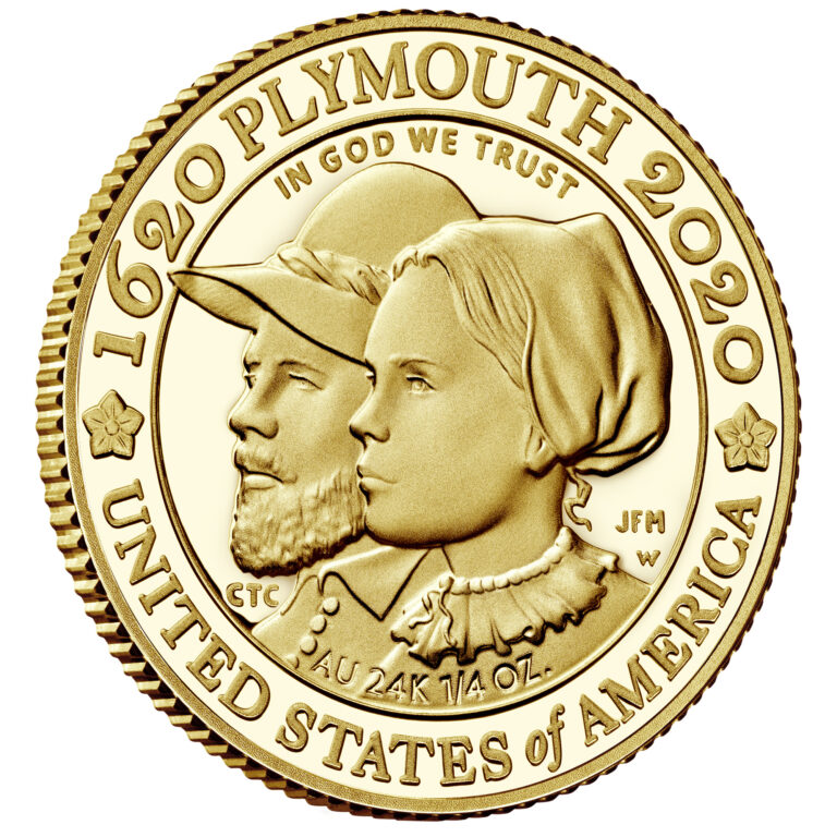 2020 Mayflower 400th Anniversary Gold Proof Coin Reverse Angle