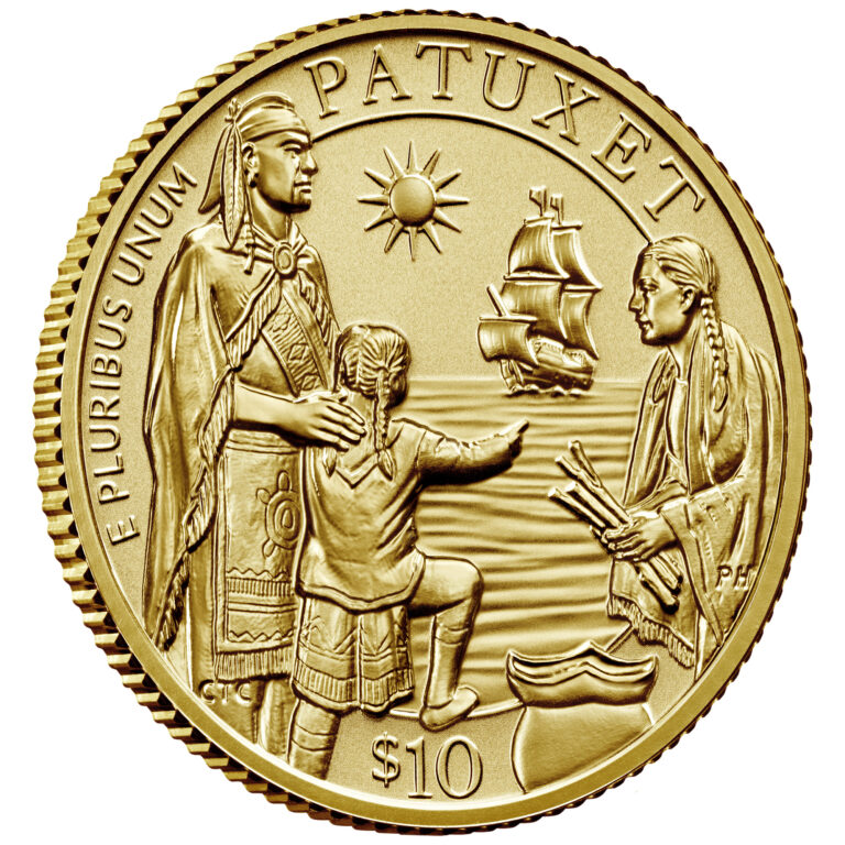 2020 Mayflower 400th Anniversary Gold Reverse Proof Coin Obverse Angle