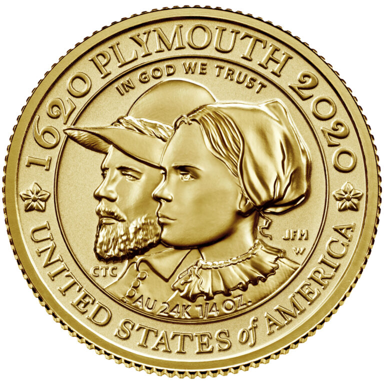 2020 Mayflower 400th Anniversary Gold Reverse Proof Coin Reverse