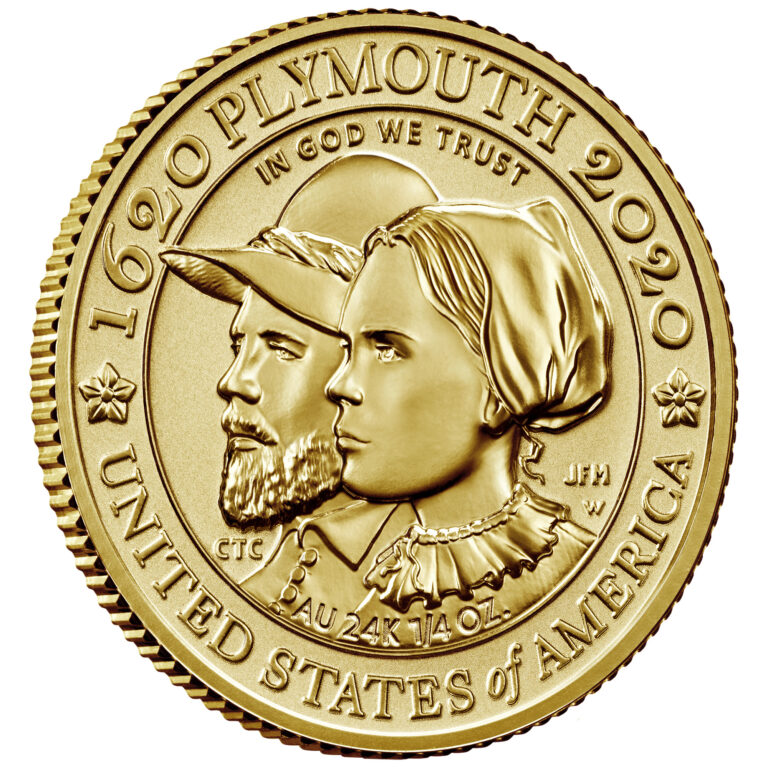 2020 Mayflower 400th Anniversary Gold Reverse Proof Coin Reverse Angle