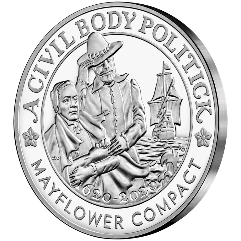 2020 Mayflower 400th Anniversary Silver Proof Medal Obverse Angle