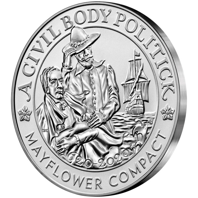 2020 Mayflower 400th Anniversary Silver Reverse Proof Medal Obverse Angle