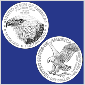 line art of new reverse designs for American Eagle gold and silver coins