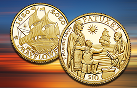mayflower 400th anniversary U.K. and U.S. coins feature
