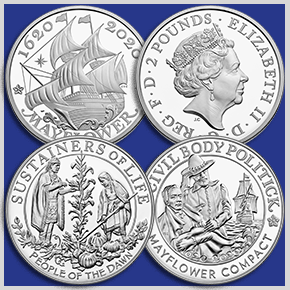 mayflower 400th anniversary united kingdom silver coin and united states silver medal