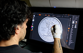 mint medallic artist digitally sculpts coin
