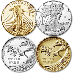 american eagle gold and silver coins with privy mark, end of world war ii 75th anniversary silver medal and gold coin