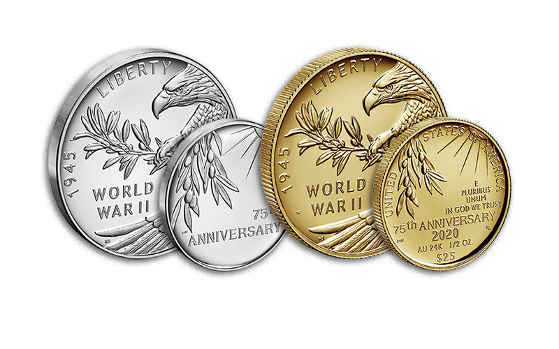 end of world war ii 75th anniversary silver medal and gold coin
