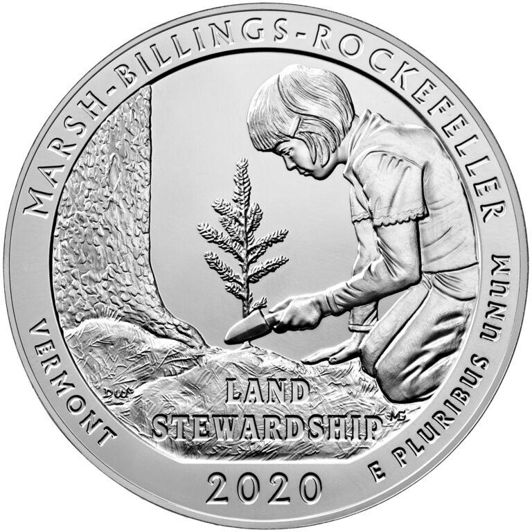2020 America the Beautiful Quarters Five Ounce Silver Bullion Coin Marsh-Billings-Rockefeller Vermont Reverse