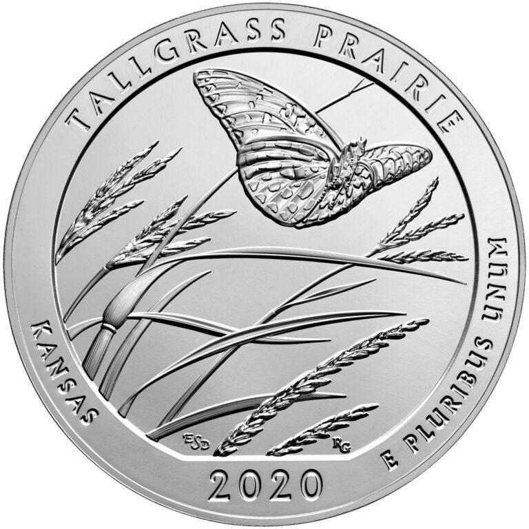2020 America the Beautiful Quarters Five Ounce Silver Bullion Coin Tallgrass Prairie Kansas Reverse