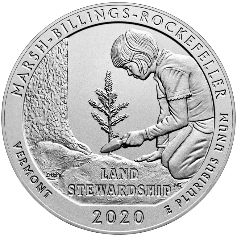 2020 America the Beautiful Quarters Five Ounce Silver Uncirculated Coin Marsh-Billings-Rockefeller Vermont Reverse