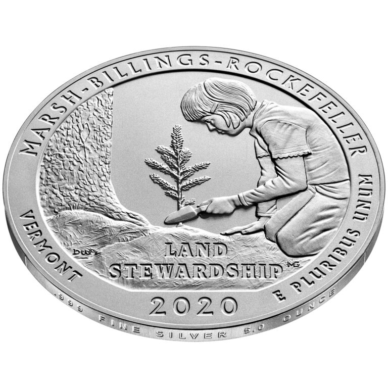 2020 America the Beautiful Quarters Five Ounce Silver Uncirculated Coin Marsh-Billings-Rockefeller Vermont Reverse Angle