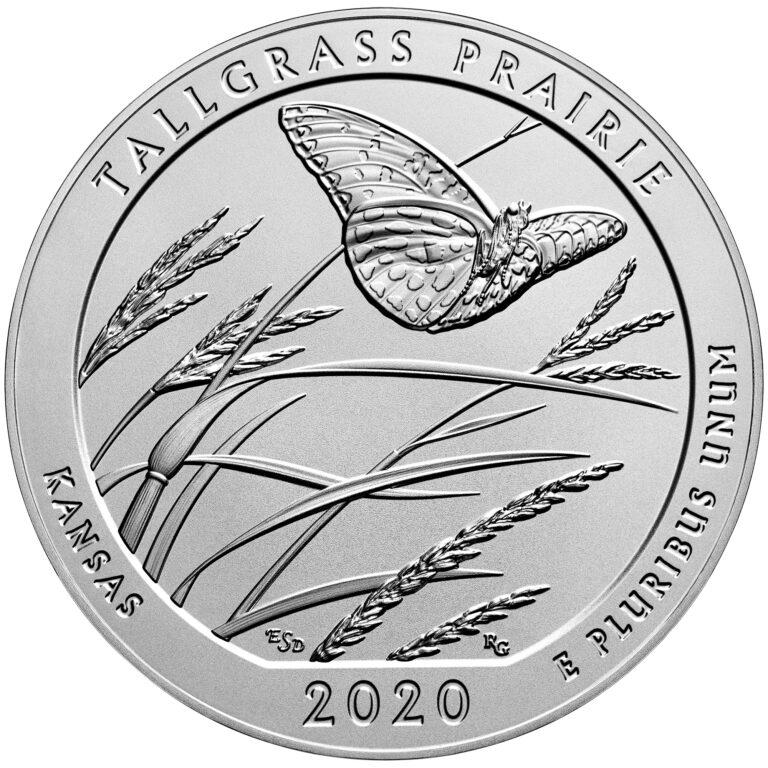 2020 America the Beautiful Quarters Five Ounce Silver Uncirculated Coin Tallgrass Prairie Kansas Reverse