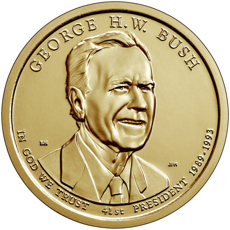 2020 Presidential $1 Coin George H.W. Bush Uncirculated Obverse