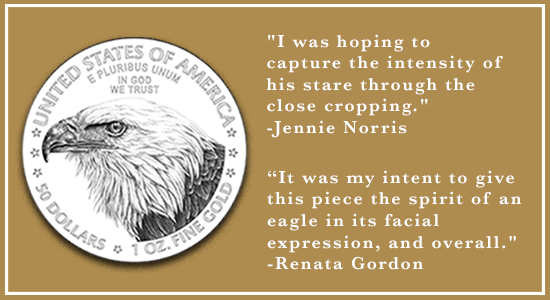 """I was hoping to capture the intensity of his stare through the close cropping."" Jennie Norris ""It was my intent to give this piece the spirit of an eagle in its facial expression, and overall."" Renata Gordon"