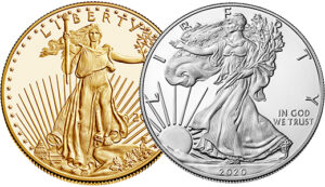 american eagle gold and silver obverses
