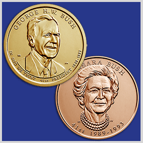obverses of the George H.W. Bush Presidential $1 Coin and Barbara Bush First Spouse Bronze Medal