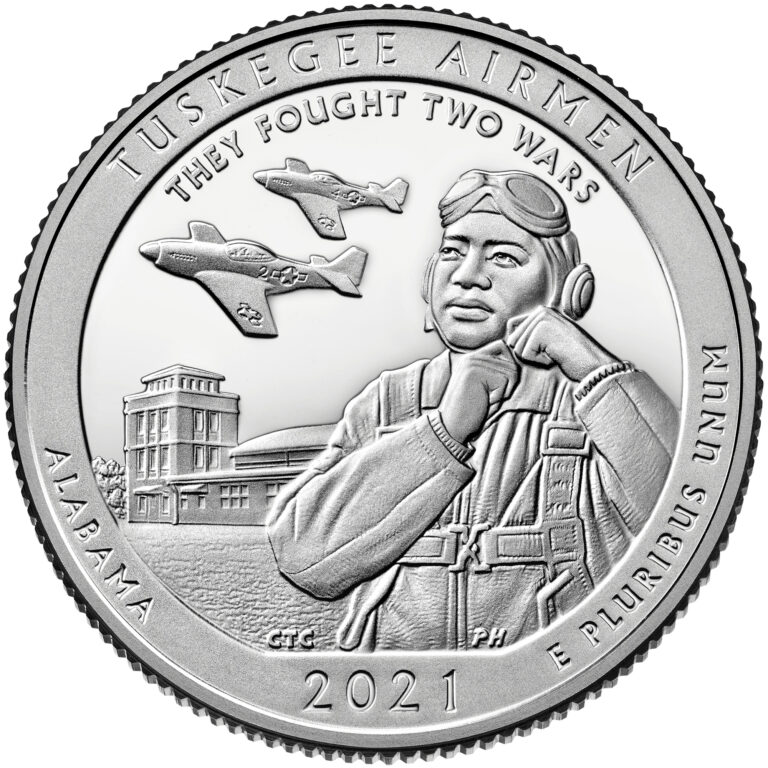 2021 America the Beautiful Quarters Coin Tuskegee Airmen Alabama Proof Reverse