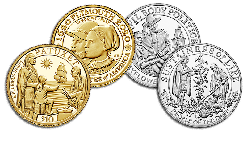mayflower 400th anniversary gold coin and silver medal