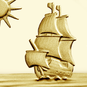 view of Mayflower ship from Mayflower 400th Anniversary Gold Coin