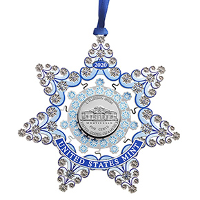u.s. mint holiday snowflake ornament with nickel