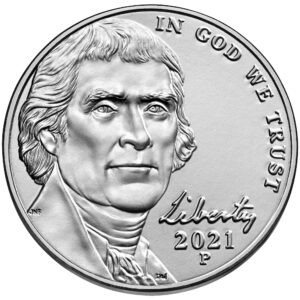 2021 Jefferson Nickel Uncirculated Obverse Philadelphia