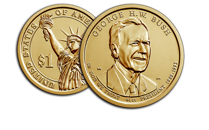 George H.W. Bush Presidential $1 Coin obverse and reverse