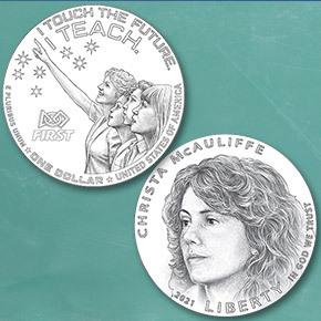 2021 Christa McAuliffe Commemorative Coin reverse and obverse line art