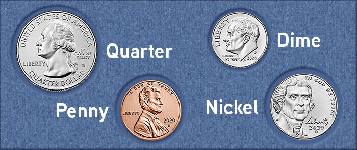 quarter, dime, penny, nickel coins feature