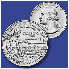 2021 General George Washington Crossing the Delaware Quarter reverse and obverse
