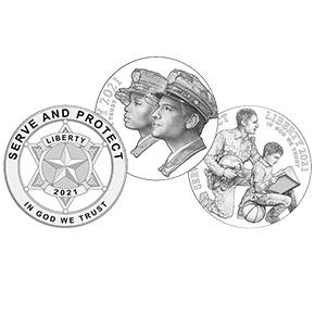 National Law Enforcement Memorial and Museum Commemorative Coin line art obverses