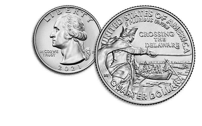 general washington crossing the delaware quarter obverse and reverse
