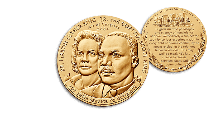 martin luther king jr. and coretta scott king bronze medal obverse and reverse
