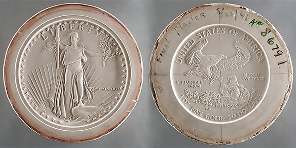 1986 American Eagle Gold Coin obverse and reverse plasters