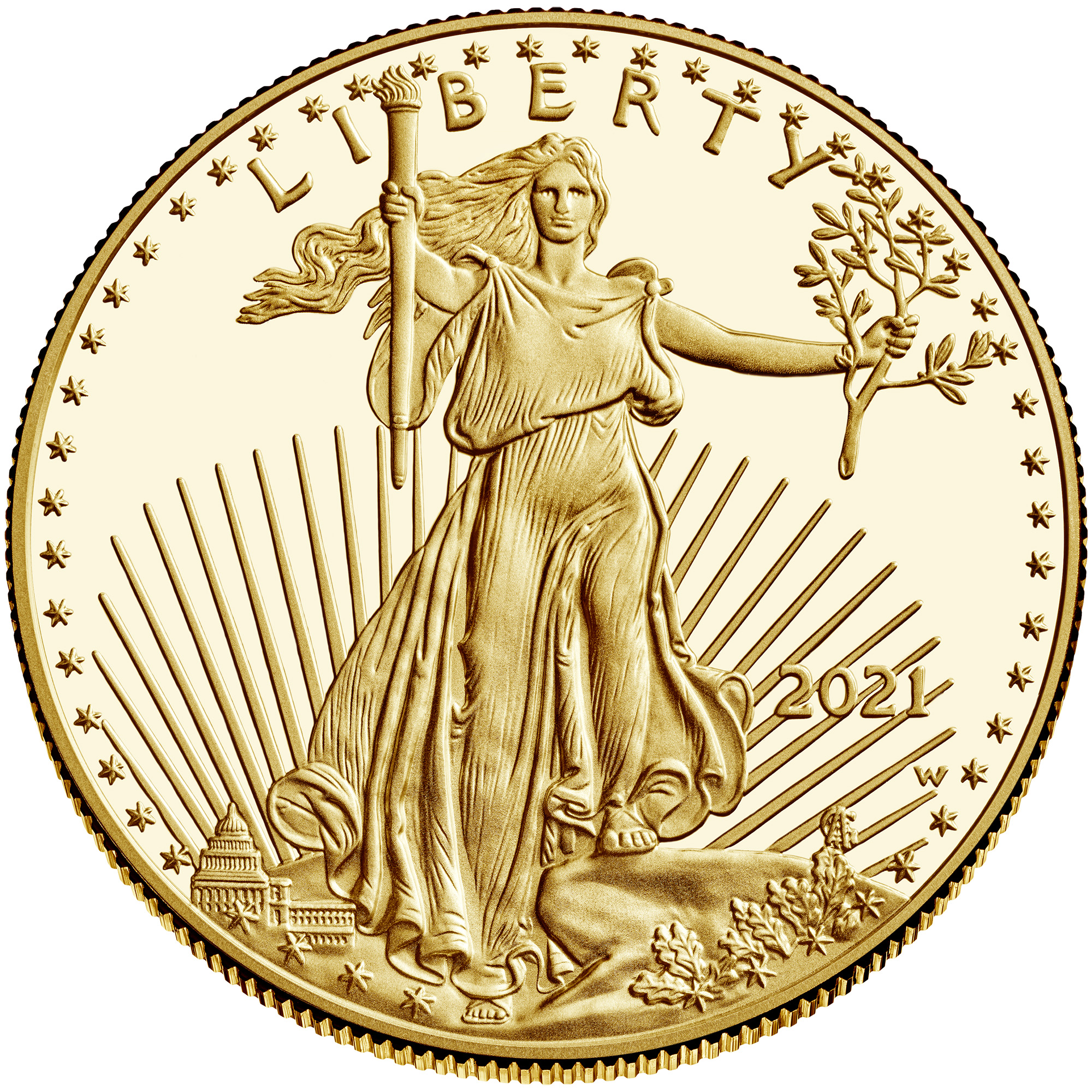 2021 American Eagle Gold One Ounce Proof Coin Obverse Old Design
